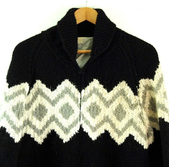 Close up of 80s Zig Zag Cowichan Sweater