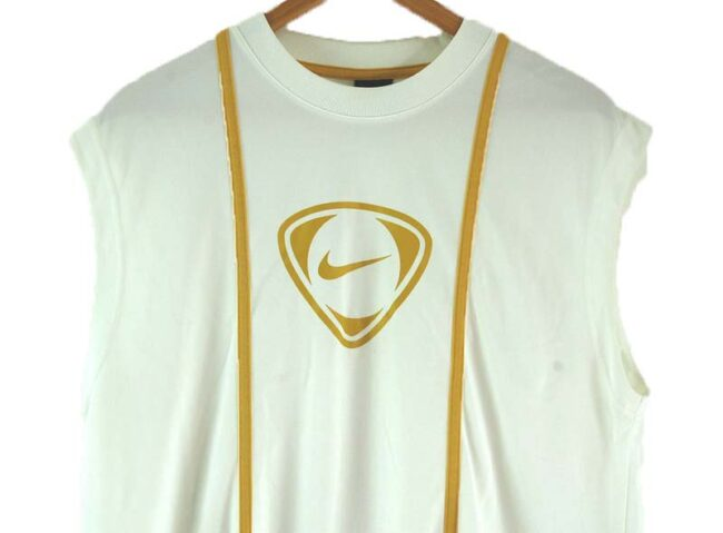 Close up of Back of Mens Nike White Vest