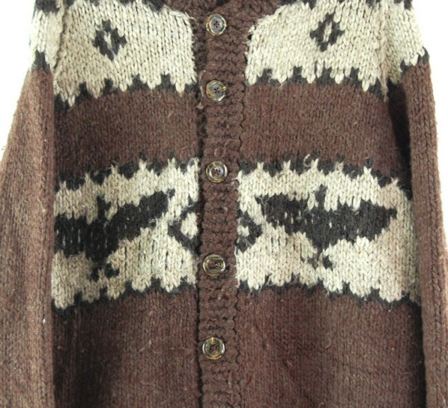 Front close up of 80s Cowichan Cardigan