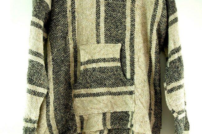 Close up of Beige Striped Baja Hoodie