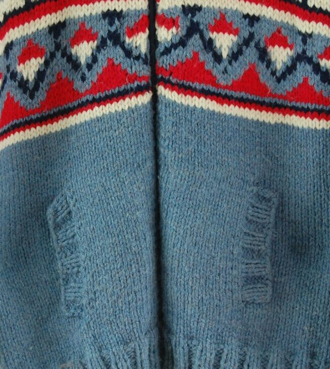 Front close up of 80s Vintage Cowichan Sweater