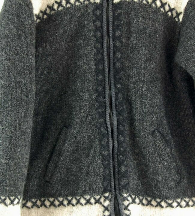 Close up of 80s Hooded Cowichan Sweater