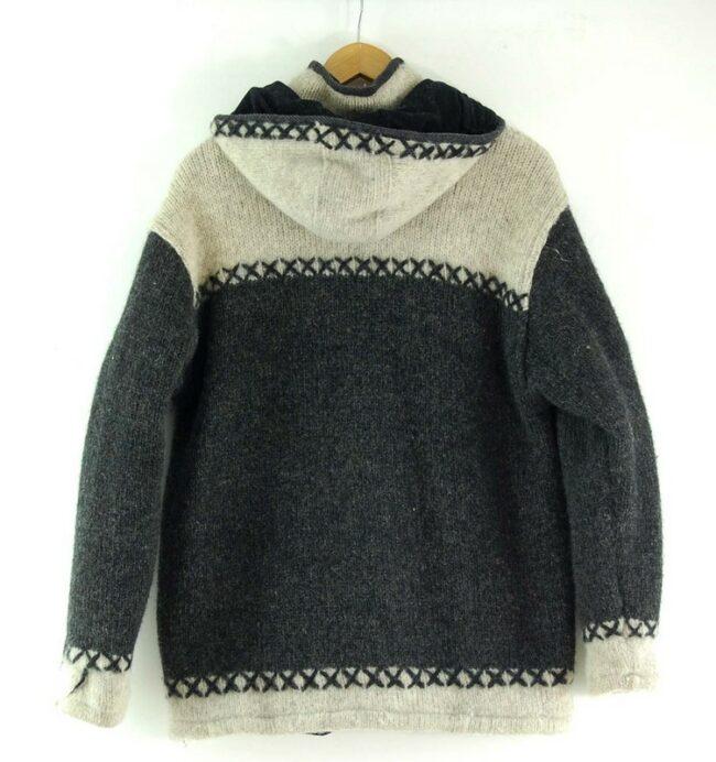 Back of 80s Hooded Cowichan Sweater