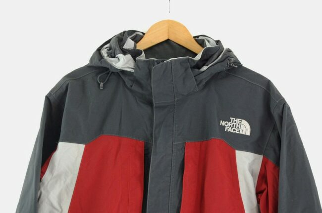 Close up of The North Face Jacket Red and Grey