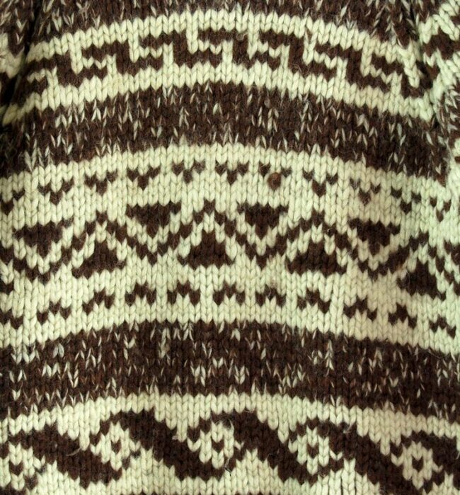 Close up of 80s Traditional Cowichan Sweater