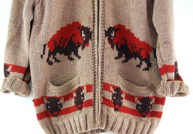 Front close up of 60s Buffalos Cowichan Sweater