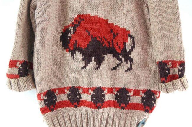 Back close up of Cowichan Sweater Buffalos