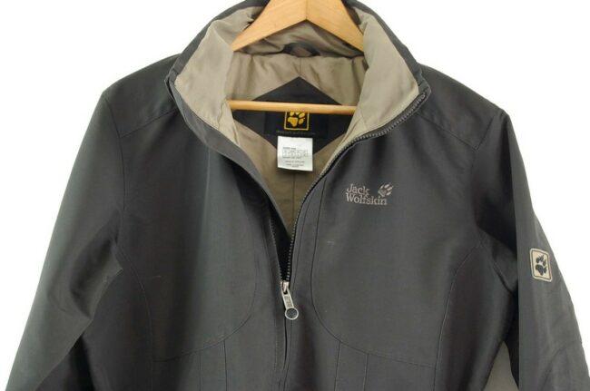 Close up of Jack Wolfskin Waterproof Jacket Grey Women