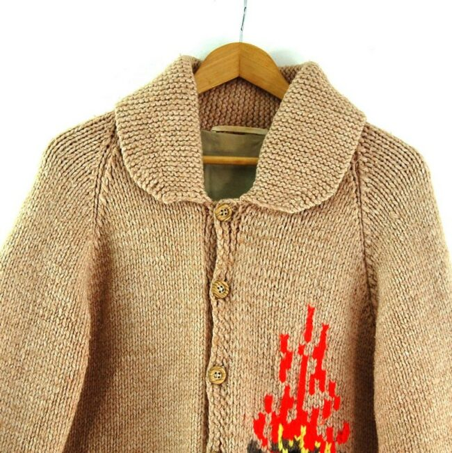 Front close up of Cowichan Sweater Campfire Theme
