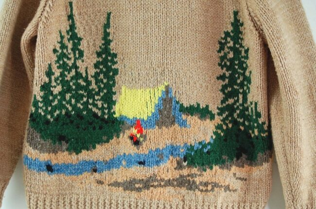 Back close up of Cowichan Sweater Campfire Theme