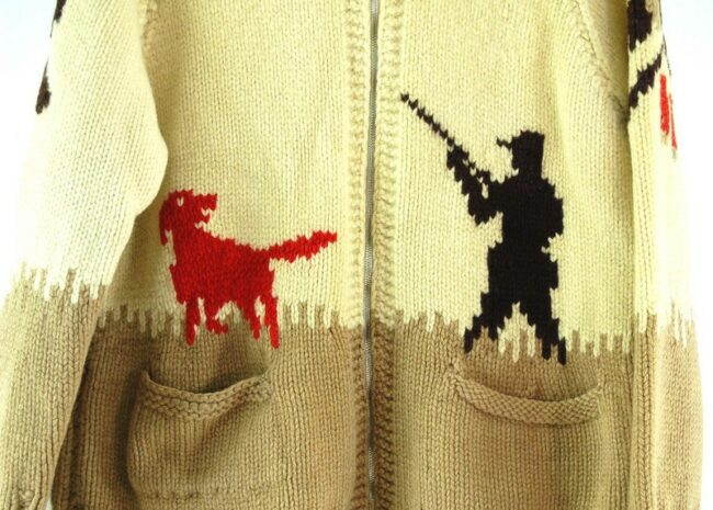 Front close up of 60s Hunting Cowichan Sweater