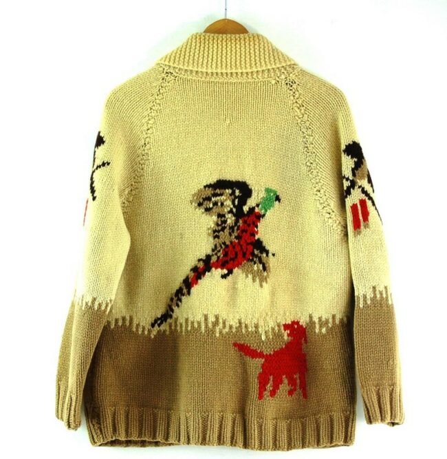 Back of Cowichan Sweater Hunting Theme