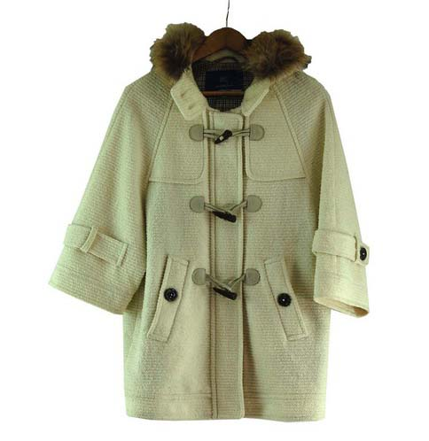 Womens White Burberry Blue Label Duffel Coat