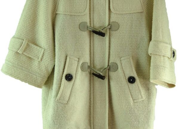 Close up of Womens White Burberry Blue Label Duffel Coat