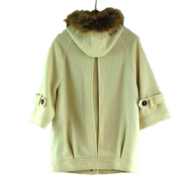 Back of Womens White Burberry Blue Label Duffel Coat