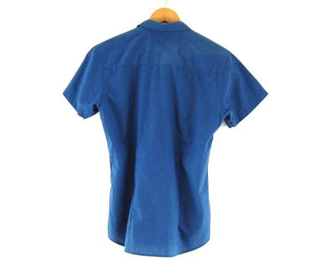 Back of Short Sleeve Blue Striped SMOG Shirt