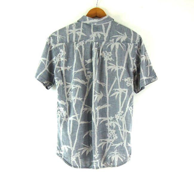 Back of Short Sleeve Tropical Print Grey Vans Shirt