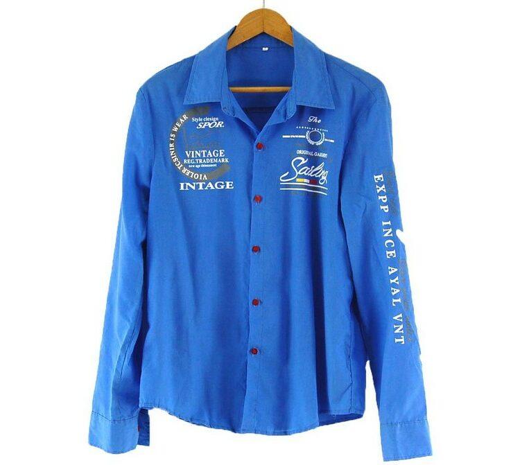 Blue Work Shirt with Logos