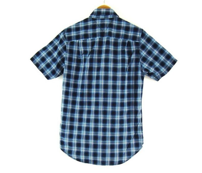 Back of Check Short Sleeve Light Blue Tommy Hilfiger Shirt