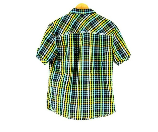 Back of Multicolored Check Short Sleeve Mustang Shirt