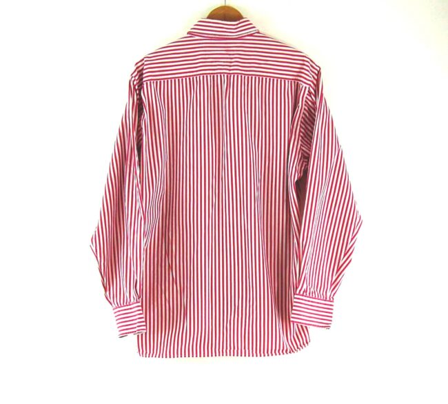 Back of Button Down Tommy Hilfiger Pink Striped Shirt