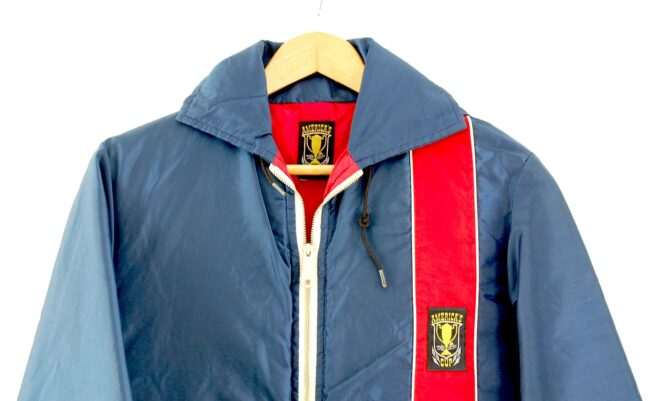 Close up of of Red And Blue Americas Cup Jacket