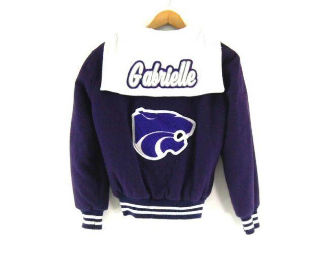 Back of Butwin Purple Varsity Jacket
