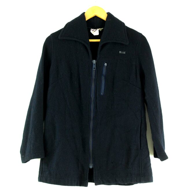 Zip Through Womens Navy Blue Wool Jacket