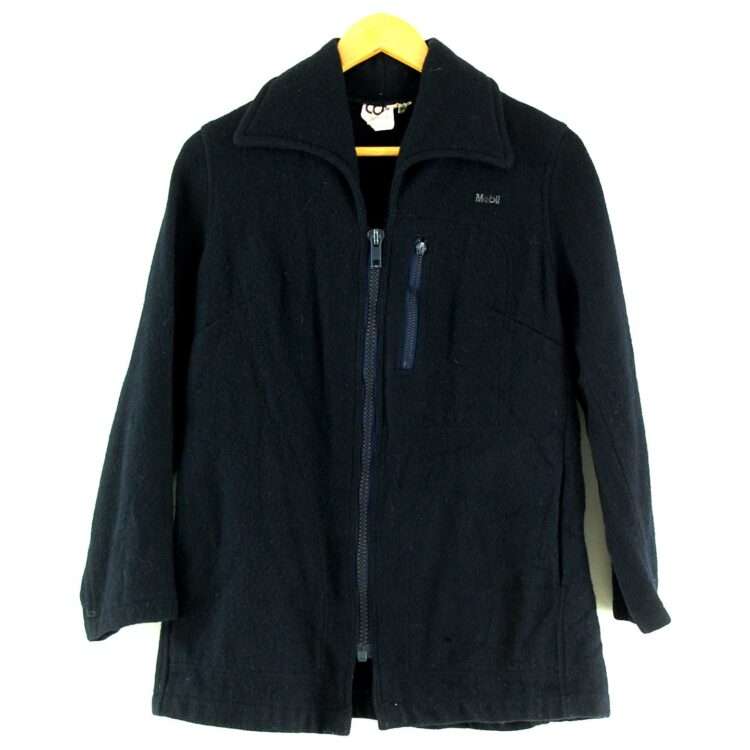 Zip Through Womens Navy Blue Wool Jacket