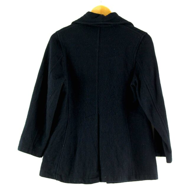Back of Zip Through Womens Navy Blue Wool Jacket