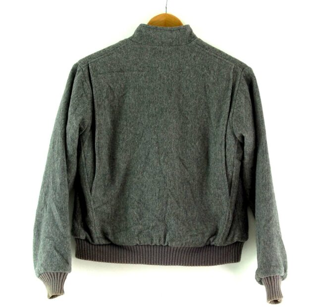 Back of Grey Woolrich Bomber Jacket