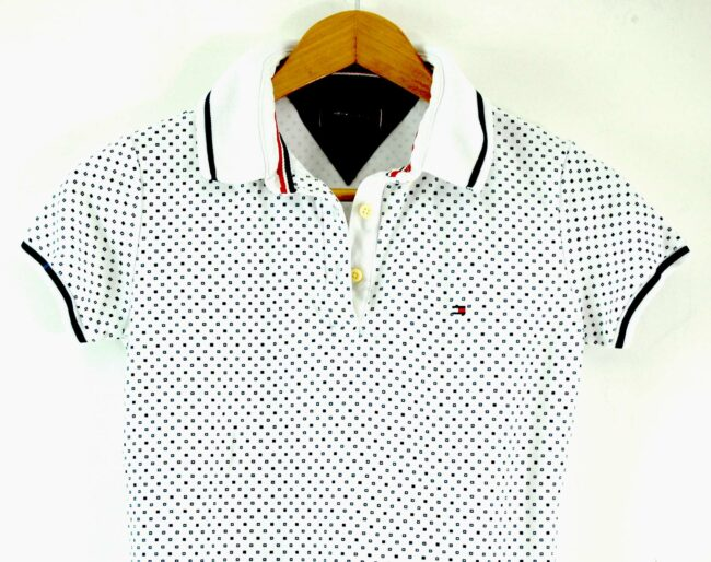 Close up of Tommy Hilfiger Womens White Polo