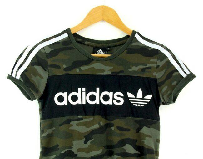 Close up of Ladies Camo Adidas Tshirt