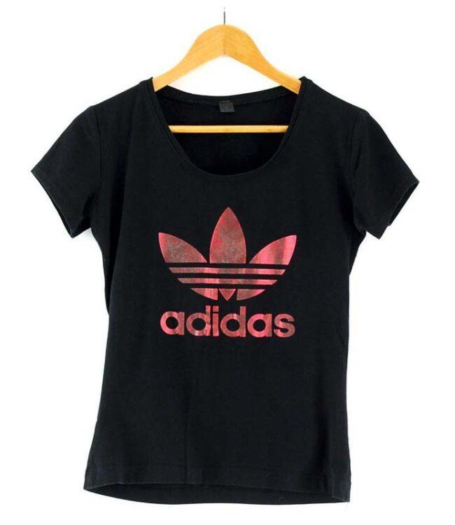 Womens Black Adidas Trefoil Tee
