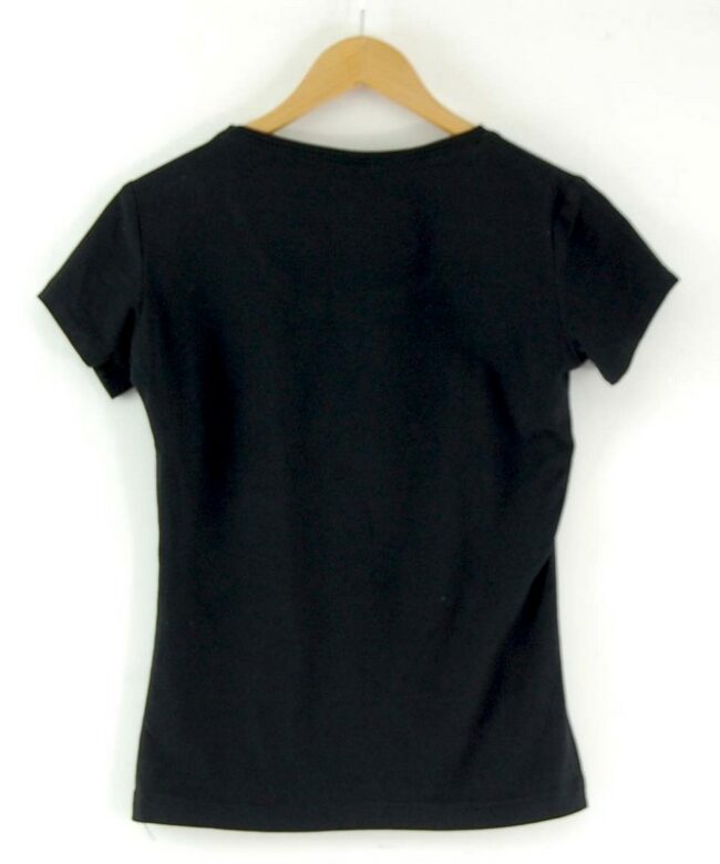 Back of Womens Black Adidas Trefoil Tee
