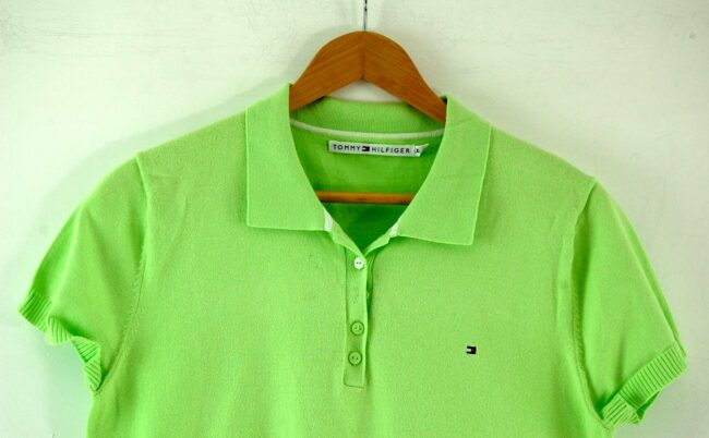 Close up of Lime Green Tommy Hilfiger Polo Womens