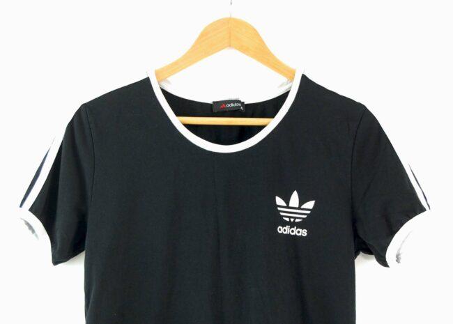Close up of Adidas Stripes Tee Black