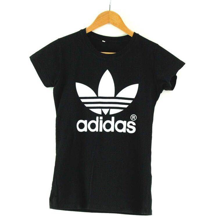 Womens Black Adidas Trefoil T Shirt