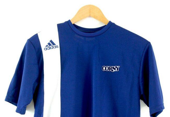 Close up of Blue Adidas T Shirt Mens