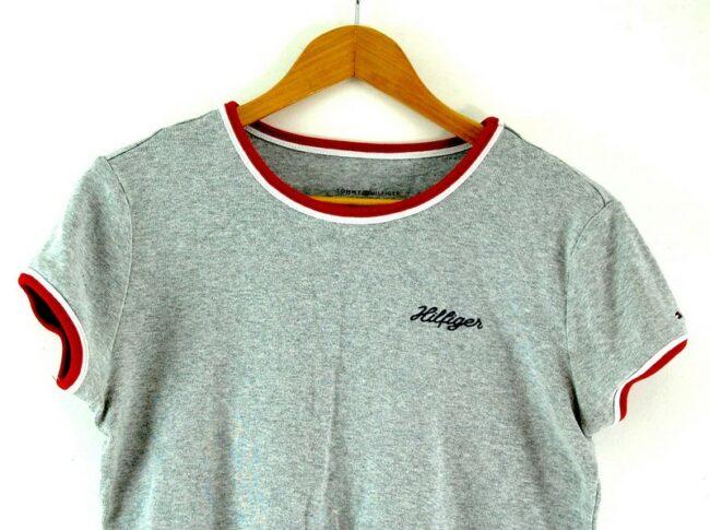 Close up of Tommy Hilfiger Grey T Shirt