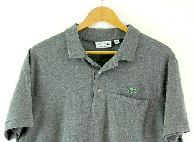 Close up of Grey Lacoste Polo Shirt