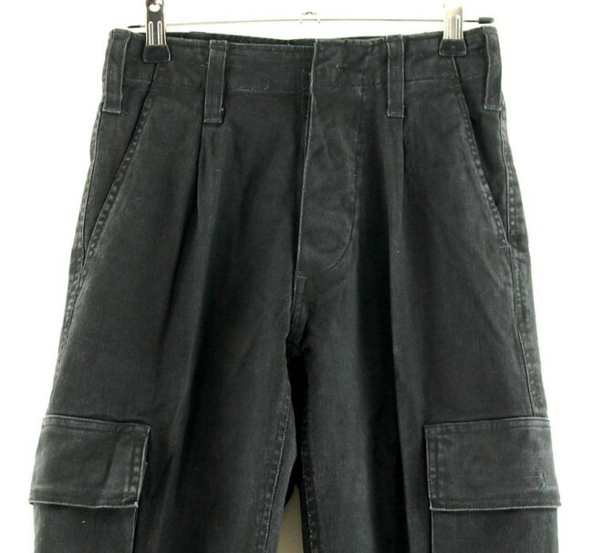 Close up of Black Army Pants Women