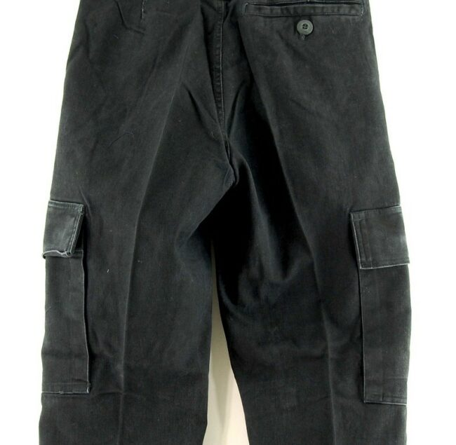 Close up of Black Army Trousers