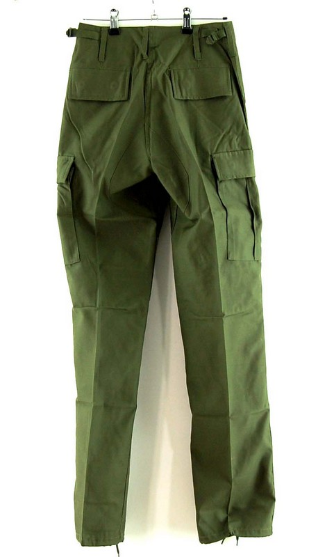 Back of Olive Six Pocket Cargo Trousers