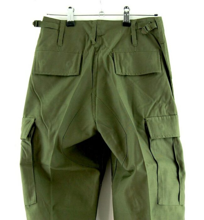 Close up of Olive Six Pocket Cargo Trousers