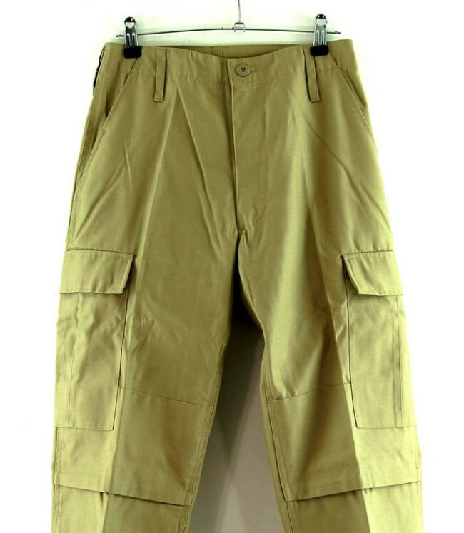Close up of Khaki Vintage Army Trousers