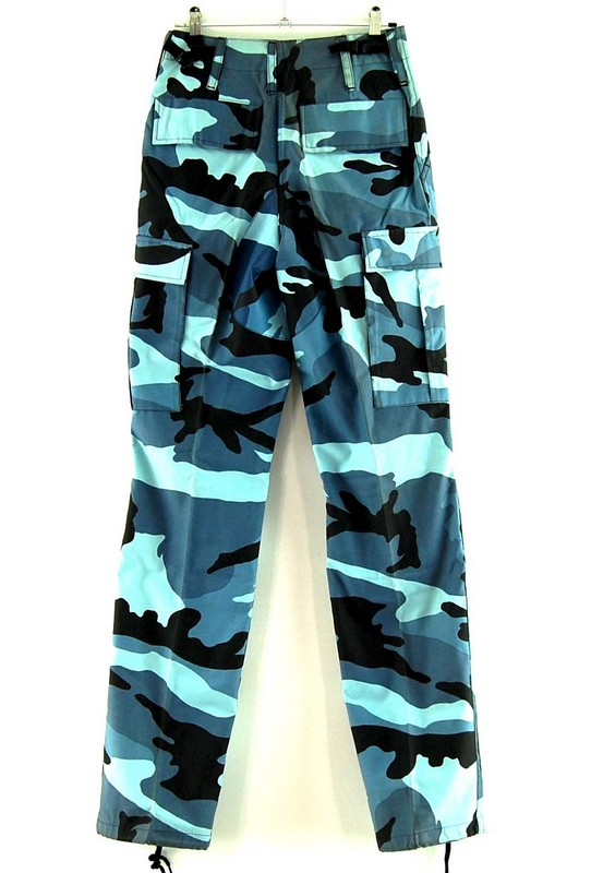 Back of Ladies Blue Army Woodland Camo Pants