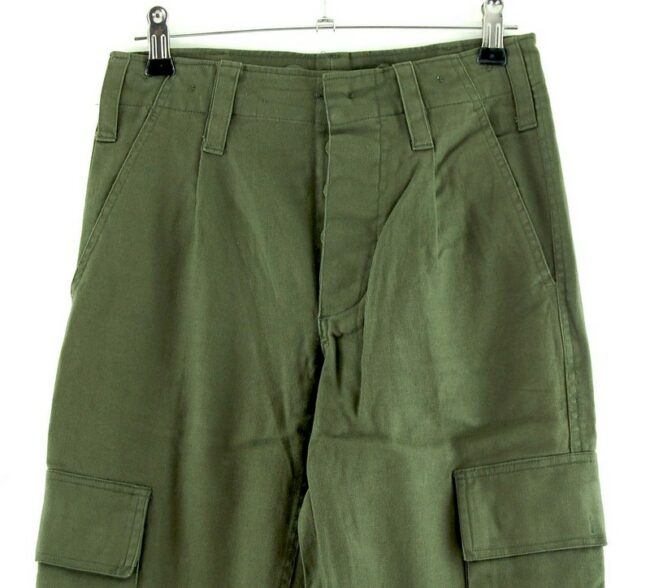 Close up front of Olive Green Army Pants