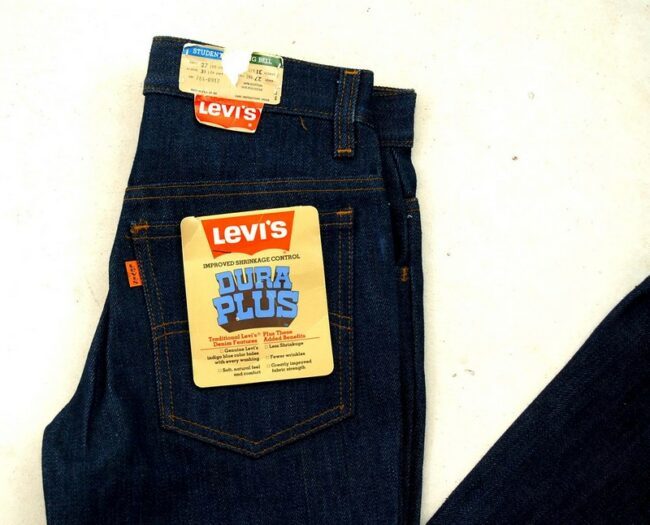 Close up of Deadstock Dura Plus Levis Bell Bottom Jeans