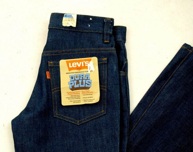 Close up of 70s Deadstock Levis Jeans Dura Plus Bell Bottom